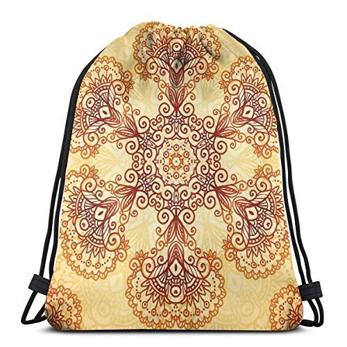 Unisex Drawstring Bag Gym Bags Storage Backpack,Ornate Vintage Circular Motif In Mehndi Style Henna Tattoo Mandala Inspired