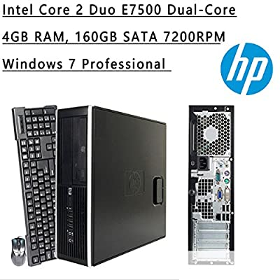 HP Flagship High Performance Small Form Factor Desktop | Intel Core 2 Duo E7500 Dual-Core | 2.93 GHz | 3MB Cache | 4GB RAM | 160GB HDD | DVD-ROM | Windows 7 Pro (Black) (Certified Refurbished)