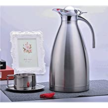 LiC-Store 2L Vacuum Jug 304 Stainless Steel Double-Wall Vacuum Insulated Coffee Pot Coffee Plunger, Juice / Milk / Tea insulation pot, 68Oz Silver BWH002