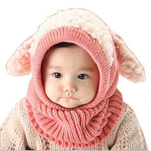 Lowpricenice Winter Baby Kids Girls Boys Warm Woolen Coif Hood Scarf Caps Hats (Pink)