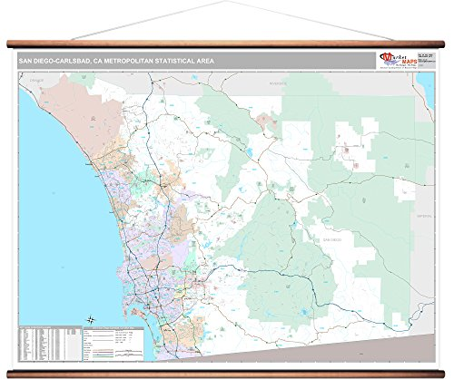 MarketMAPS San Diego-Carlsbad, CA Metro Area Wall Map