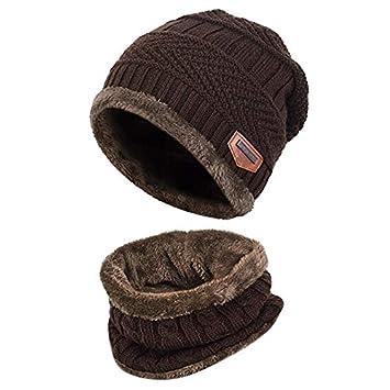 f8a104321e449 Aruny Sombrero de Invierno y Bufanda para Hombre Mujer Otoño Invierno Gorro  (Café)  Amazon.es  Deportes y aire libre