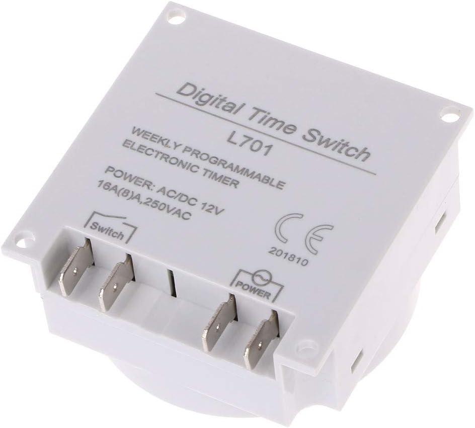 12V DC12V AC220V Digital LCD Programmateur hebdomadaire programmable Relais Minuterie /électronique jackyee L701 Minuterie de contr/ôle du Temps