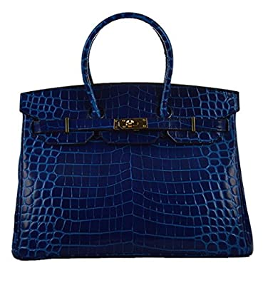 Ainifeel Women's Patent Leather Crocodile Embossed Top Handle Handbags
