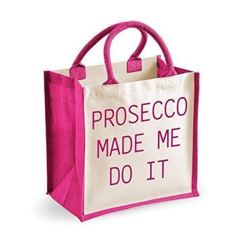 Medium Jute Bag Prosecco Made Me Do It Pink Tasche Mütter Tag Freund Geburtstag Weihnachtsgeschenk