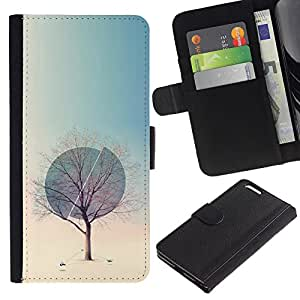 APlus Cases // Apple Iphone 6 PLUS 5.5 // Árbol Invierno Esfera Deep Primavera Naturaleza // Cuero PU Delgado caso Billetera cubierta Shell Armor Funda Case Cover Wallet Credit Card
