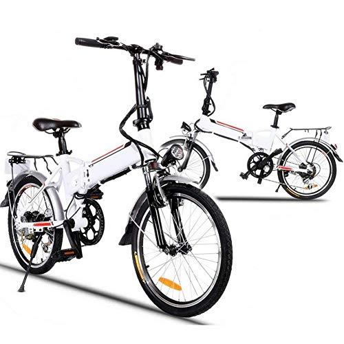 Hurbo 250W/350W Folding Electric Bike Aluminum Alloy Frame 36V Large Capacity Powerful Lithium-Ion Battery [US Stock] (White(250W))
