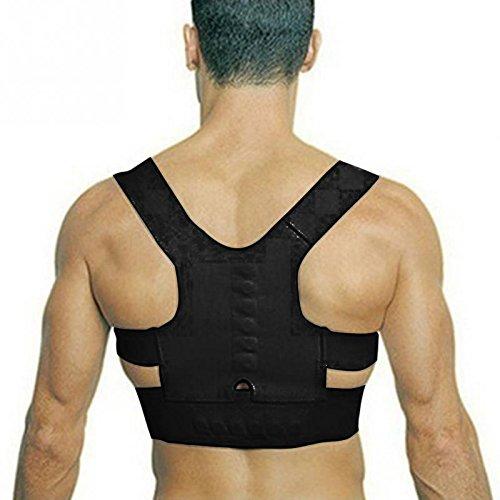 Adjustable Back Therapy Shoulder Magnetic Posture Corrector for Girl Student Child Men Women Adult Braces Magnet Supports - Black - Size M