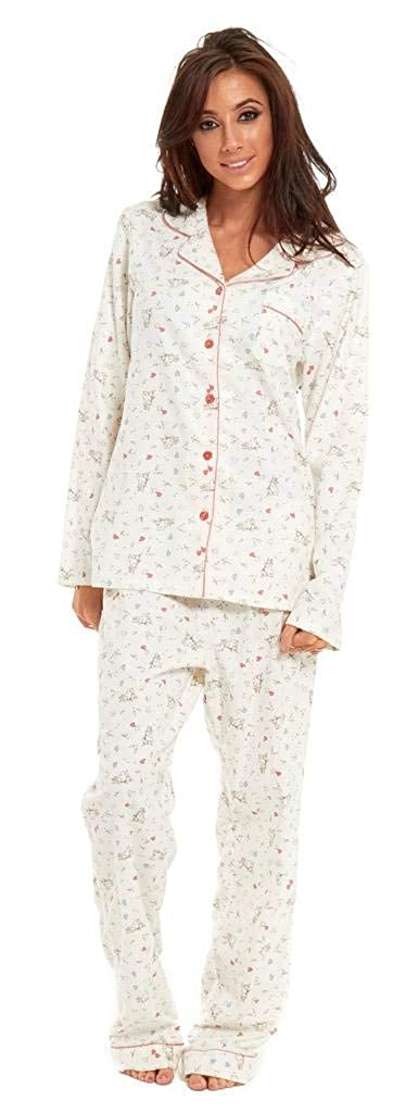 Slumber Hut® Ladies 100% Winceyette Cotton Pyjamas - Brushed Flannel Wincy Womens Buttoned Collar Pajamas - Size UK 8 up to 22
