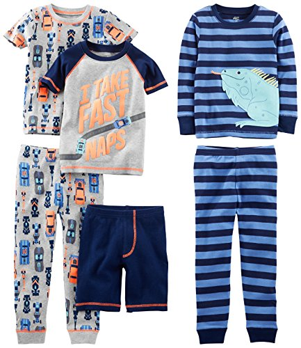 Simple Joys by Carter's Baby Boys' Toddler 6-Piece Snug Fit Cotton Pajama Set, Racer Cars/Iguana, 2T (Wash 6 Piece Set)