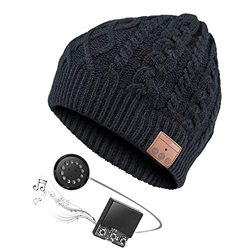 (Zibaar Bluetooth Hat Bluetooth Beanie with Bluetooth V4.2 Headphones Over 5 Hours Running Time at Max Volume Hands Free Talking Polar Fleece Beanie Hat for Men Women Unisex Blue)