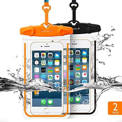 Universal Waterproof Case FITFORT 2 Pack Dry Bag/ Pouch,Clear Sensitive PVC Touch Screen,for iPhone 6 6S Plus/5/5s/5c Galaxy S7 Edge/S7/S6/S5/S4 Note3/4 LG G5/G3 Up To 5.5