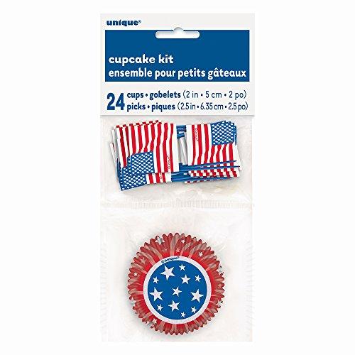 Patriotic American Flag Cupcake Kit for 24 (American Flag Cupcake Picks)