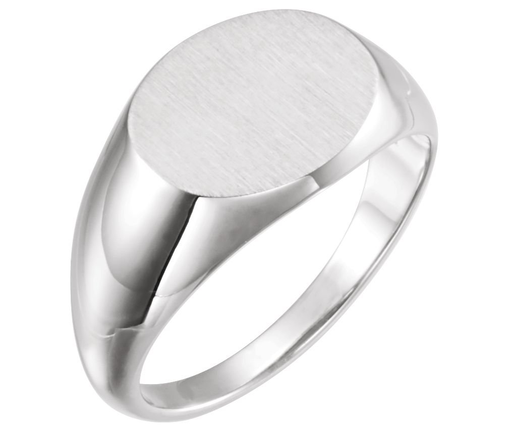 Men's Brushed Oval Signet Ring, Sterling Silver (12x14 MM) Size 9.75