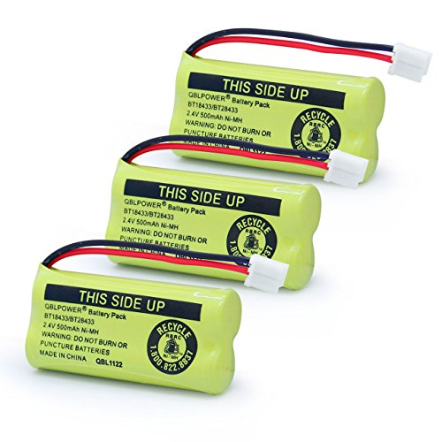 XUNTU 2.4V Rechargeable Battery Compatible with AT&T and Vtech Phones BT18433 BT184342 BT28433 BT284342 BT-8300 BATT-6010 BT1011 BT1018 BT1022 BT1031 89-1326-00-00/89-1330-01-00 / CPH-515D(Pack of 3)