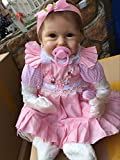 Funny House Hot 45cm18 Reborn Dolls Realistic Handmade Looking Lifelike Soft Silicone Vinyl Child Growth Partner Cute and Lovely Pink Dress Birthday Xmas Present Free Magnet Pacifier Cheap