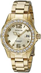 Invicta Women's 21397 Pro Diver 18k Gold Ion-Plated Stainless Steel Watch with Crystals