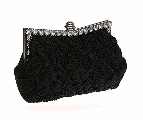 Afibi Womens Wedding Evening Bridal Bridesmaid Clutch Jeweled Pleated Cocktail Party Handbag (Black)