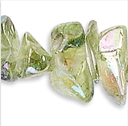 34'' Strand Aurora Borealis Peridot Green Glass 4-9mm Chip Beads Perfect for Earrings, Necklaces or Bracelets