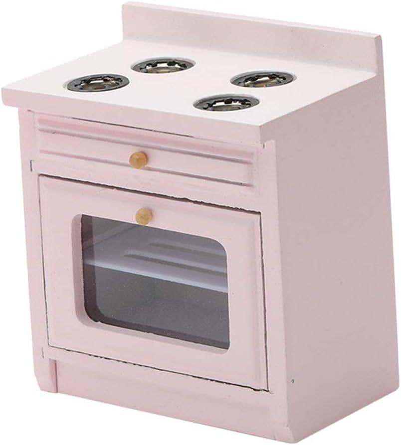 Dollhouse Pink Cooker Stove Modern Miniature Kitchen Furniture Set - 1/12 Scale Mini Dolls House Decor Accessories