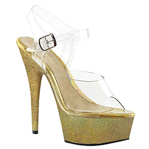 Pleaser 608hg Delight Glitters gold Clr Holographic FF1qwxrz