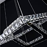 Dixun Modern Luxury LED Crystal Chandeliers Pendent Light Home Ceiling Lighting Fixture 20+30+40cm 3 Squares (Warm)