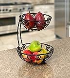Spectrum Diversified Scroll Fruit Stand, Tiered Server, Fruit Baskets, 2 Tier, Black