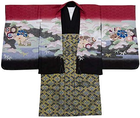 七五三 着物 男の子 五歳 13点フルセット 羽織袴セット 兜 レッド 赤 totalset-00010-6-60cm