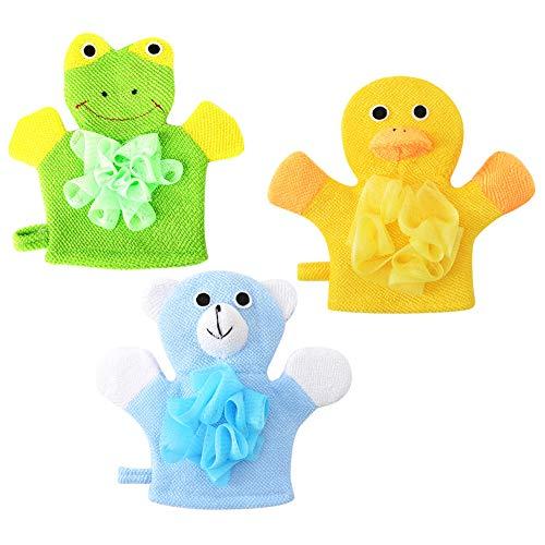 (Ibnotuiy 3PCS Cartoon Soft Hand Puppet Bath Wash Mitt Animal Designs Cloth Bath Puppet for Children Bath (Random Style) )