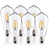 LED Edison Bulb 4W,Vintage LED Bulb,Dimmable LED Bulbs,Antique 4W LED Bulb,40W Light Bulb Equivalent,4W Filament LED Light Bulb,E26 LED Bulb,2700K Warm White,Clear Light Bulbs, 6 Pack