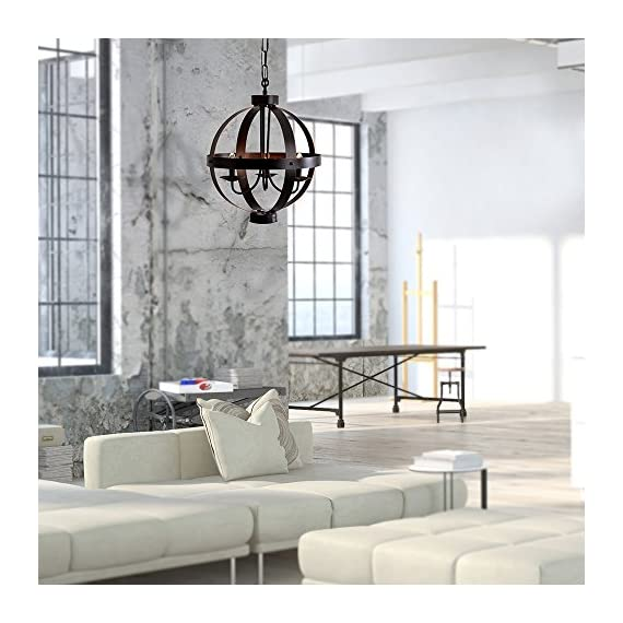 """Catalina Lighting 19866-000 Industrial Modern Geometric 3 Metal Orb Open Cage Chandelier Ceiling Light, 16"""", Bronze - Features a metal shade with Bronze finish Measures 84-inches (H) by 16-inches (W) by 16-inches (D) and weighs 8.31-Pounds Uses a Type B (3) 40-watt candelabra bulbs (not included) - kitchen-dining-room-decor, kitchen-dining-room, chandeliers-lighting - 51AOWAcEi9L. SS570  -"""