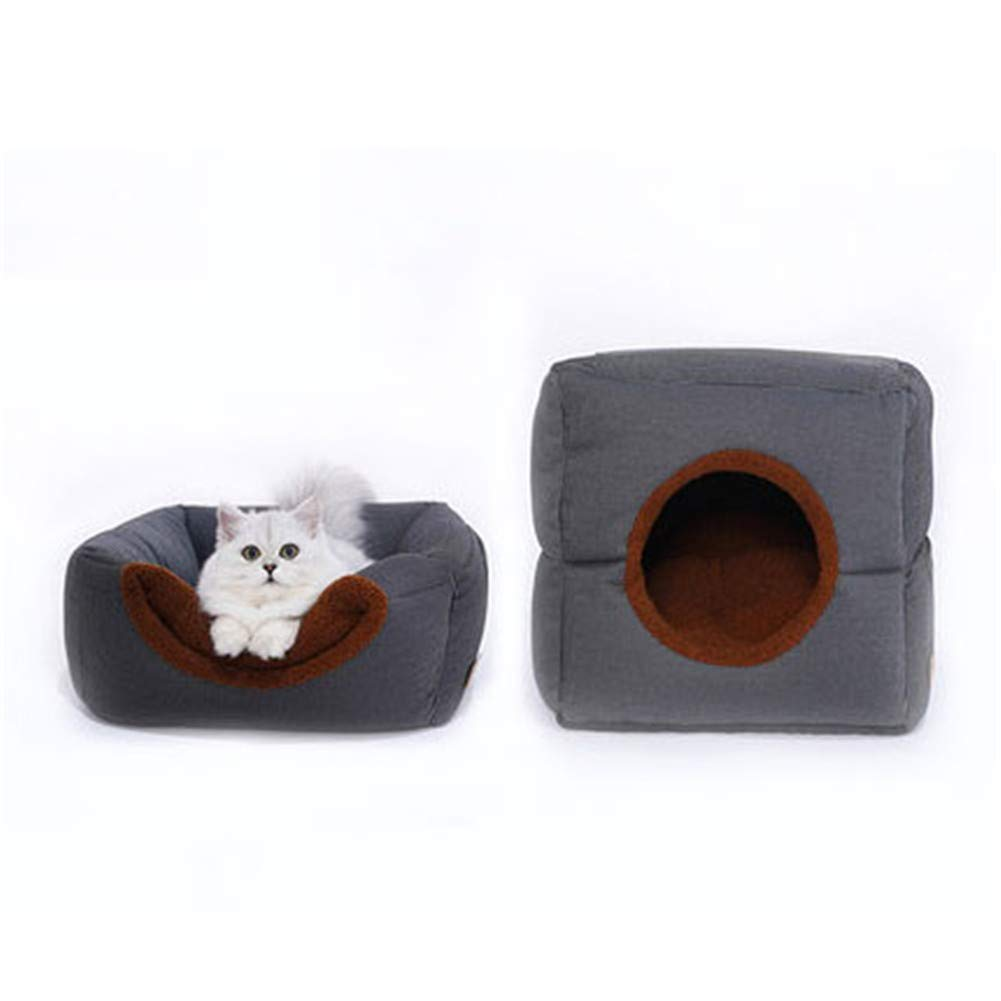 Pet Bed, Cat Bed and Cave, Small Dog Bed, 2-in-1 Foldable, Soft, Warm, Washable Pet Bed