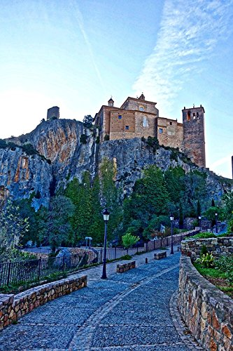 Home Comforts Peel-n-Stick Poster of Alquezar Historic Citadel View Buildings Castle Poster 24x16 Adhesive Sticker Poster Print -