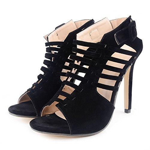 Schwarz Out Sexy Fashion Damen Sandalen Stiletto Kreuzgurt Roman High Cut Heel 4vRnxRw8