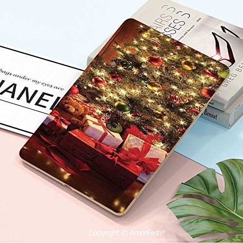 Galaxy Tab A 10.5 T590 T595 Shockproof Case,[Anti-Scratch] [No-Bubble] [Case-Friendly],Christmas,Xmas Scene with Decorated Luminous Tree and Gifts by The Fireplace Artful Image,Red Yellow