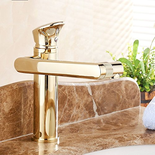 Bijjaladeva Antique Bathroom Sink Vessel Faucet Basin Mixer Tap golden redating hot and cold single hole Washbasin Faucet A