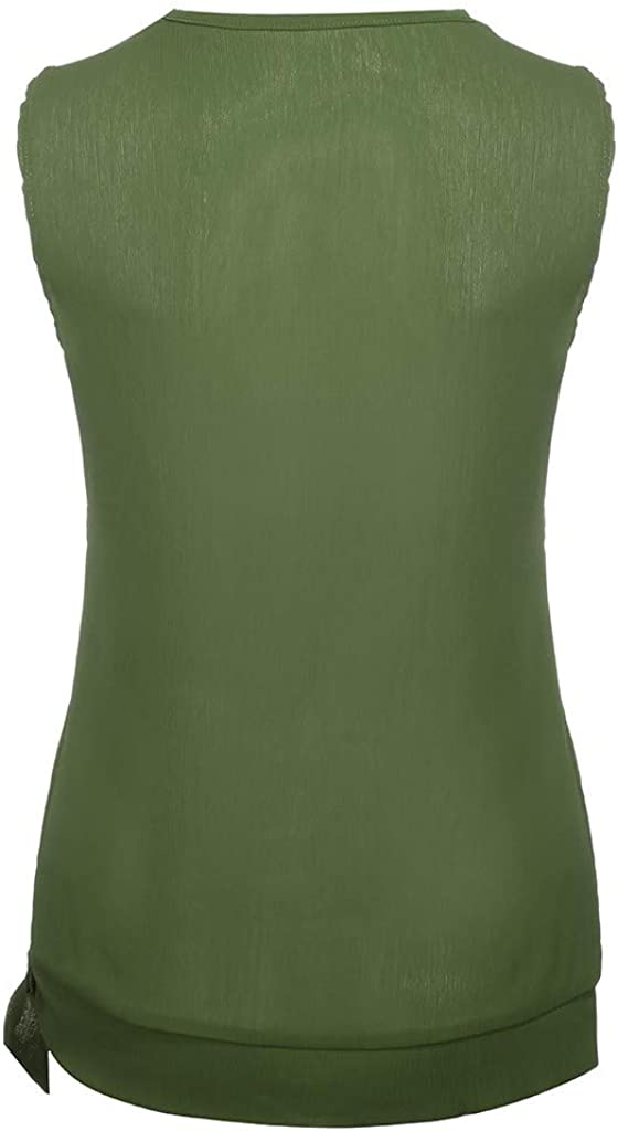ZHENBAO Womens Button Down V Neck Tie Knot Front Casual Tank Tops Summer Shirts Blouse