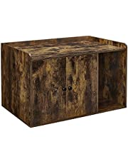 FEANDREA Cat Litter Box Enclosure, Wooden Hidden Cat Box Cabinet, Home Nightstand, Cat Washroom with Doors, Pet House End Table, Indoor Litter Box Furniture, Rustic Brown UPCL001X01