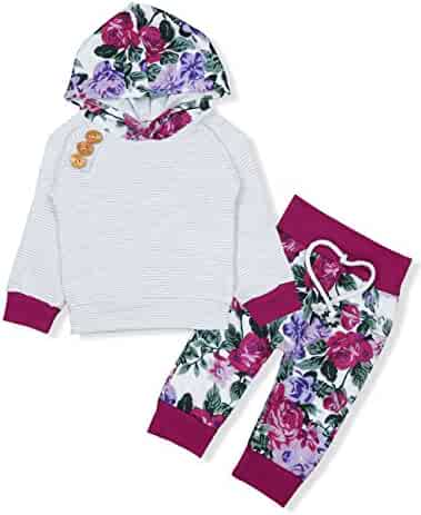 Baby Girls Long Sleeve Flowers Hoodie Tops and Pants Outfit with Kangaroo Pocket Headband