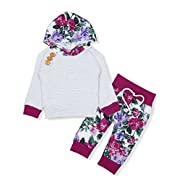 Baby Girls Long Sleeve Flowers Hoodie Tops and Pants Outfit with Kangaroo Pocket Headband (0-6 Months)