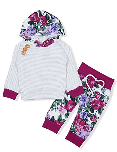 Baby Girls Long Sleeve Flowers Hoodie Tops and Pants Outfit with Kangaroo Pocket Headband (0-6 Months) by Oklady