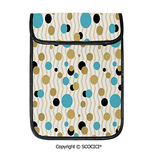 SCOCICI Shockproof Tablet Sleeve Compatible 12.9 Inch iPad Pro Trippy Geometric Circles Dotted Gold Rounds On Zig Zag Lined Background Print Tablet Protective Bag
