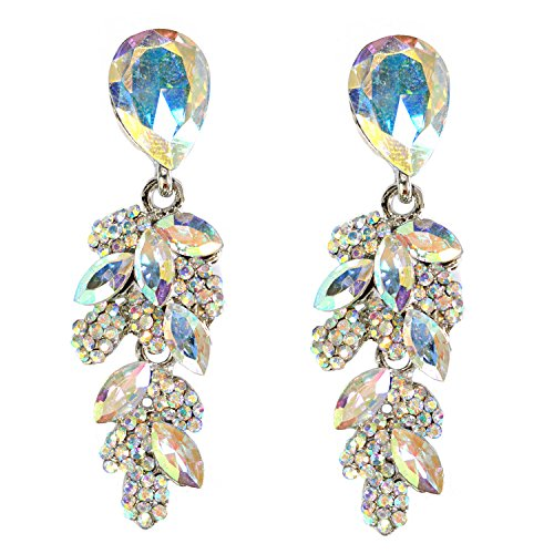 Gold Aurora Borealis Rhinestone Teardrop & Leaf Shaped Dangle Earrings