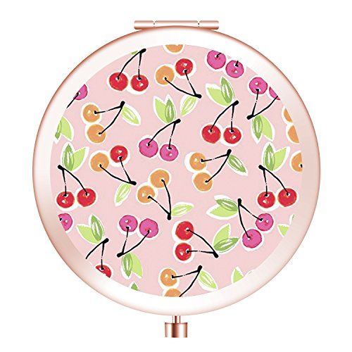 Travel Mirror, Cosmetic Woman Makeup Mirror Double Sides with Powerful 2x Magnification and 1X True View Mirror for Travel, Purses and Gift -Cherry Print (Mirror Wall Cherry Mount)