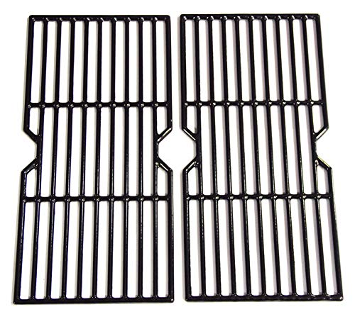 Hongso PCF123 Porcelain Coated Cast Iron Cooking Grid Grates Replacement for Select Gas Grill Models by Kenmore, Charbroil, Thermos, Set of 2 ()