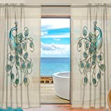 INGBAGS Bedroom Decor Living Room Decorations 20151019224118350506 Pattern Print Tulle Polyester Door Window Gauze / Sheer Curtain Drape Two Panels Set 55×84 inch ,Set of 2 Review
