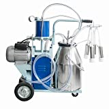 Genmine Electric Milking Machine 550W 1440rmp/min Agricultural Portable 304 Stainless Steel Milker Machine Single Bucket 25L For Farm Cows Goats