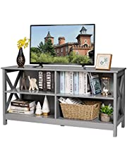 Tangkula Wooden TV Stand for TVs up to 55 Inches, 3-Tier Entertainment Center with Storage Shelves, Industrial Rustic Console Table for Living Room Bedroom