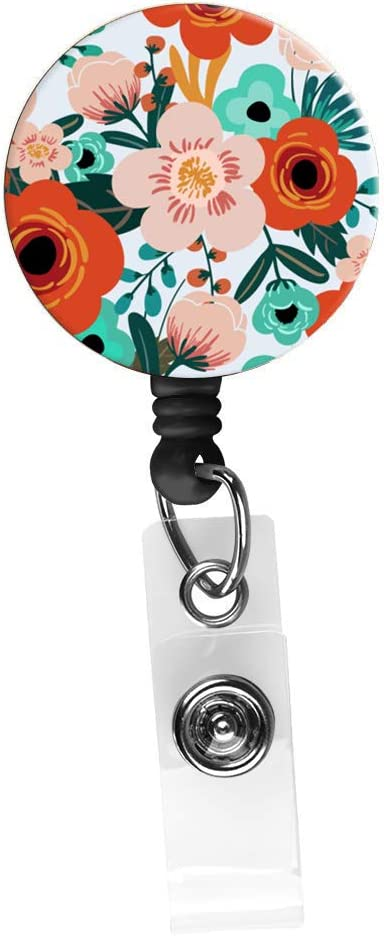 Retractable Badge Reel Alligator Clip,24in Nylon Cord, Nurse Badge ID, Badge Holder, ID Holder, Office Employee Name Badge-Trendy Floral Pink and Orange
