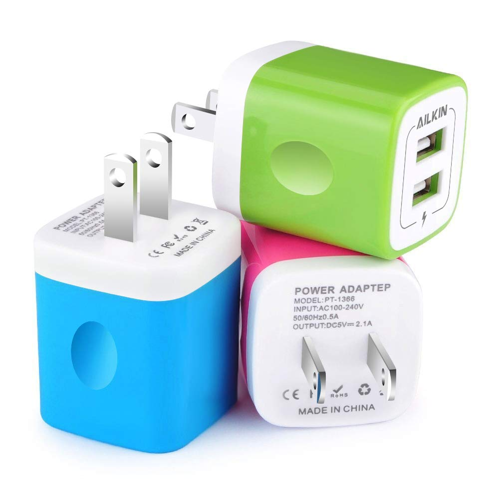 Wall Charger, [3-Pack] 5V/2.1AMP Ailkin Colorful 2-Port USB Wall Charger Home Travel Plug Power Adapter For iPhone 7/7 plus, 6s/6s plus, Samsung Galaxy S7 S6, HTC, LG, Table, Motorola And More